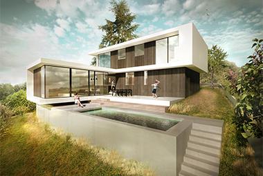 Maison contemporaine dans la pente dans les environs de Lyon avec piscine.