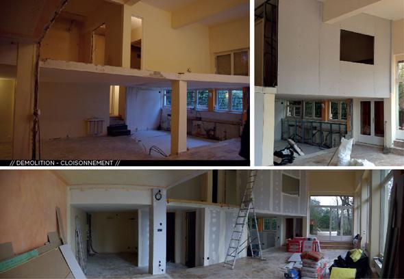 Appartement en duplex rénové de manière contemporaine et minimaliste, démolition.