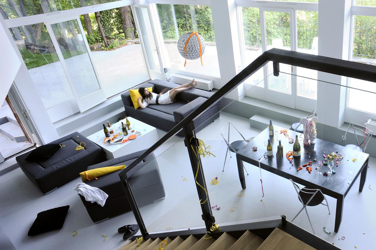 Appartement en duplex rénové de manière contemporaine et minimaliste, plan du projet.