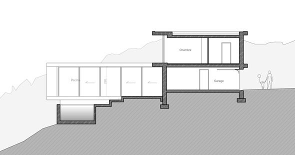 Maison contemporaine dans la pente dans les environs de Lyon avec piscine, dessin en coupe