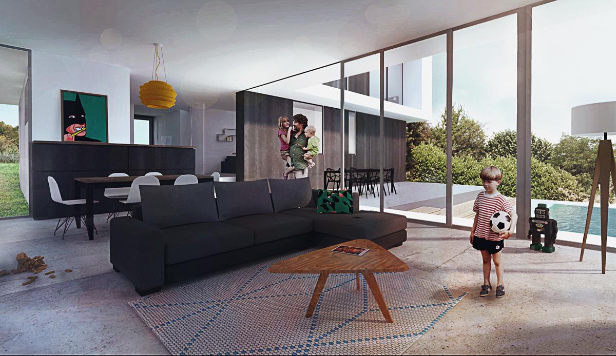Maison contemporaine dans la pente dans les environs de Lyon avec piscine, perspective intérieure.