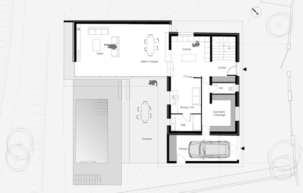 gallery of maison dans la pente dans les environs de lyon avec piscine dessin en plan with. Black Bedroom Furniture Sets. Home Design Ideas