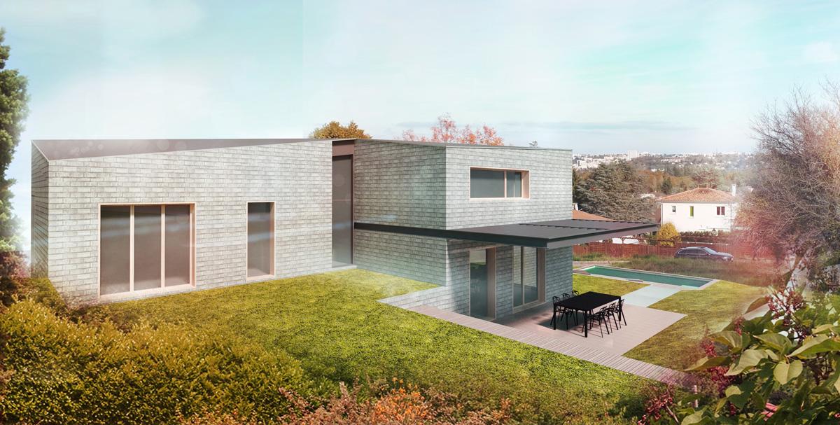 maison contemporaine en brique avec un plan en demi niveau ouvert sur une terrasse avec pergola