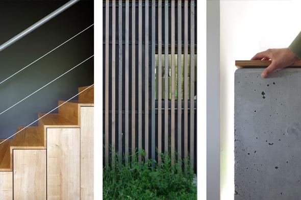 Maison contemporaine en Savoie avec un bardage bois et du béton brute. Détails des matières utilisés.