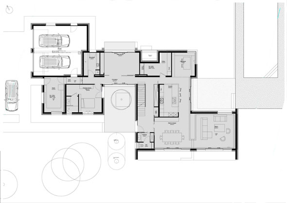 Plan maison patio interesting futura homepatio with plan for Plan contemporain