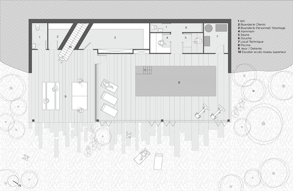 Hébergement de loisir, appartement de vacances avec balcons et centre spa, plan détaillé des appartements