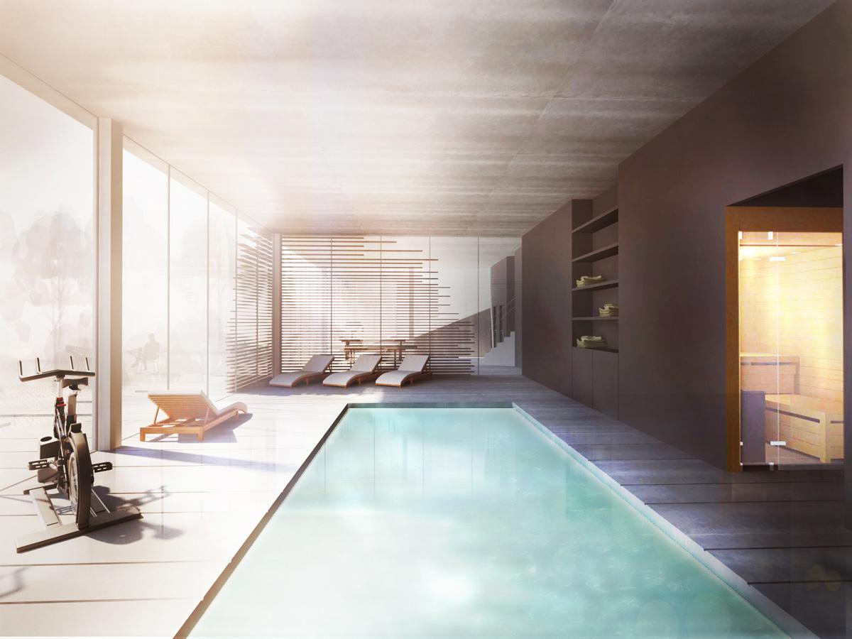 Hébergement de loisir, appartement de vacances avec balcons et centre spa, piscine intérieure et sauna