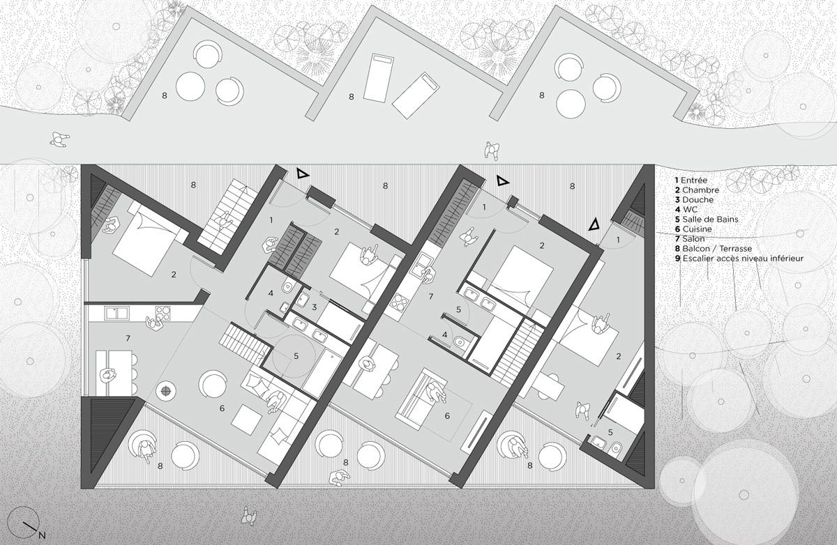 Hébergement de loisir, appartement de vacances avec balcons et centre spa, plan détaillées des appartements en bande