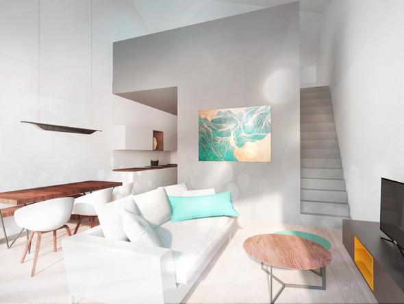 Hébergement de loisir, appartement de vacances avec balcons et salon cosy style scandinave avec cheminée et cuisine contemporaine