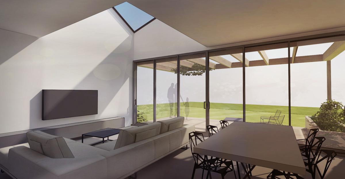 Maison individuelle dans un éco-quartier contemporain dans l'ouest de Lyon. Salon lumineux minimaliste avec de grandes baies vitrées et une ouverture en toiture.