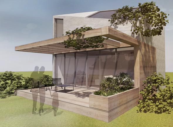 Maison individuelle dans un éco-quartier contemporain dans l'ouest de Lyon. Salon lumineux minimaliste avec de grandes baies vitrées vers l'extérieur avec terrasse bois et pergolas végétalisée.