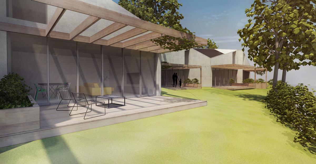Maison individuelle dans un éco-quartier contemporain dans l'ouest de Lyon. Jardin avec terrasse bois et pergolas végétalisée.