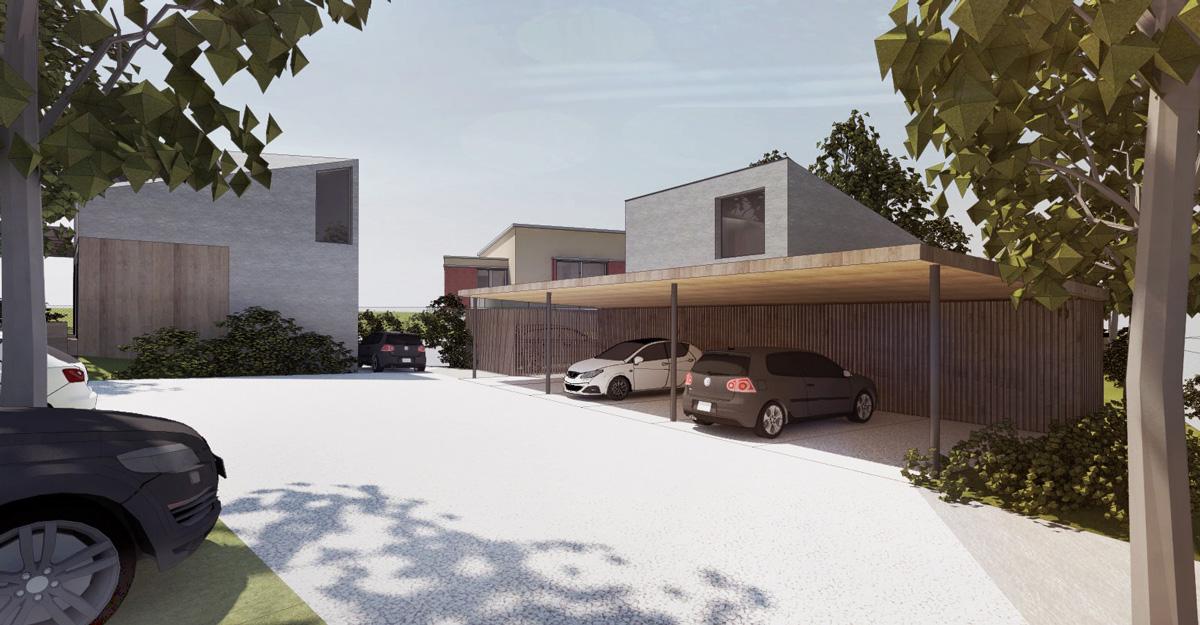 Maison individuelle dans un éco-quartier contemporain dans l'ouest de Lyon. Entrée du quartier avec auvent pour voiture et rangement bois extérieur.