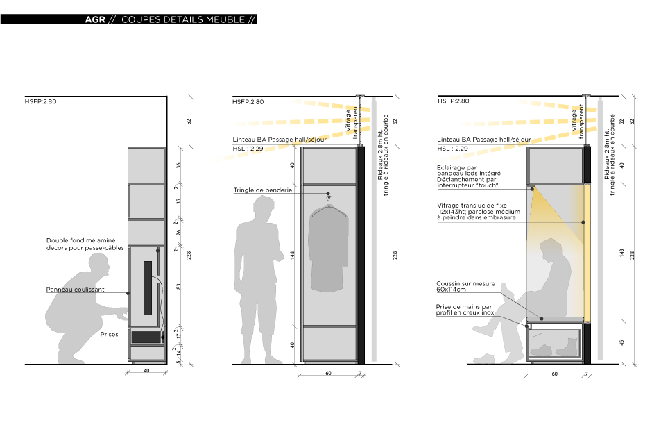Rénovation d'un appartement contemporain à Lyon avec un meuble central sur mesure. Détail en coupe des aménagements intérieurs.
