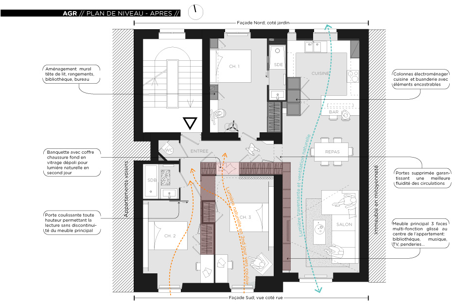 Rénovation d'un appartement contemporain à Lyon avec un meuble central sur mesure. Plan du projet.