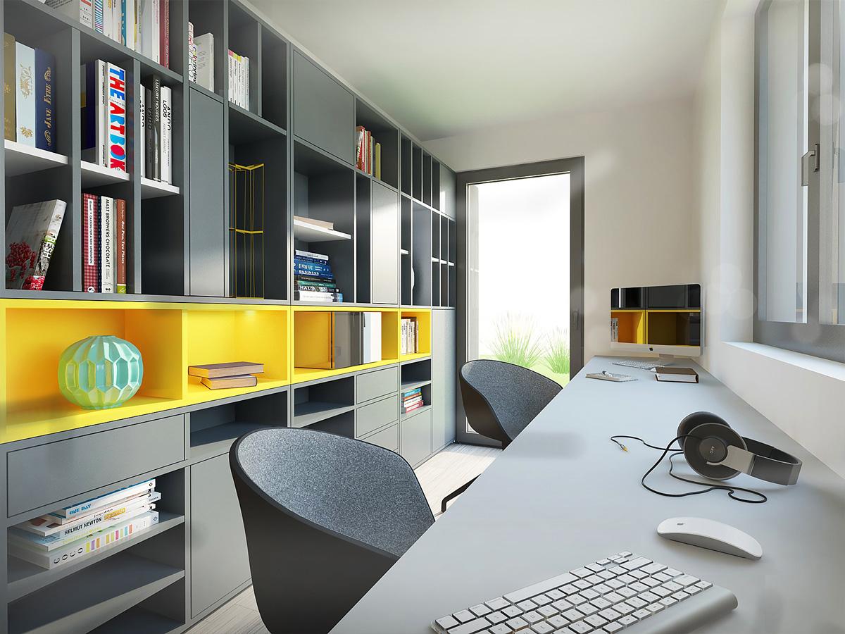 Rénovation et extension contemporaine d'une maison à Caluire de type verrière d'atelier. Bureau sur mesure.
