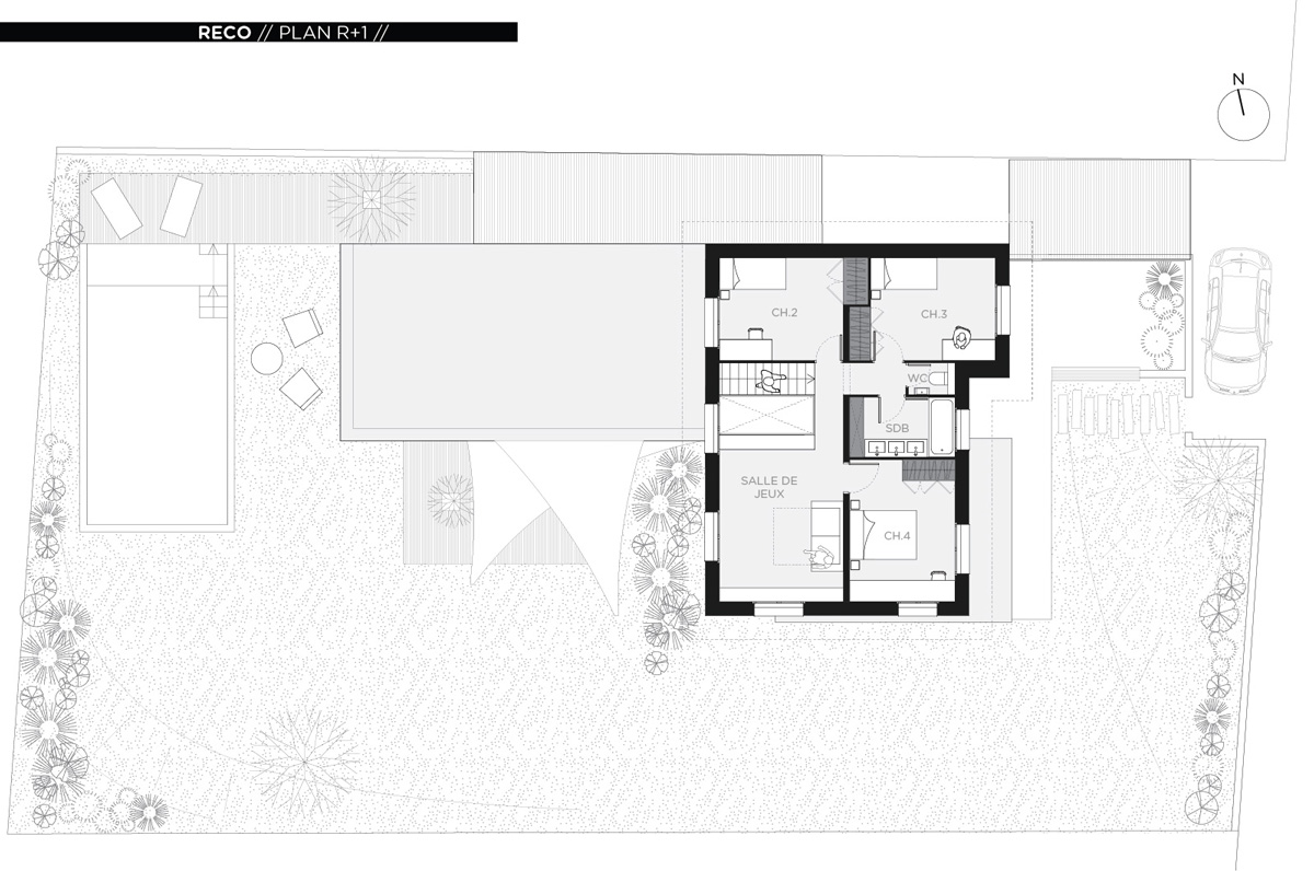 Rénovation et extension contemporaine d'une maison à Caluire de type verrière d'atelier, plan étage.