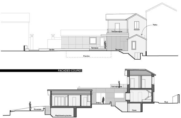 Extension contemporaine à Caliure et Cuire en ossature bois et parement ciment Viroc. Coupe et façade du projet.