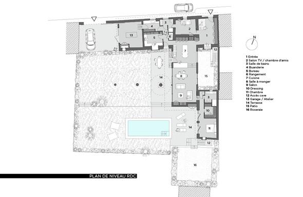 Extension contemporaine à Caliure et Cuire en ossature bois et parement ciment Viroc. Plan du projet.