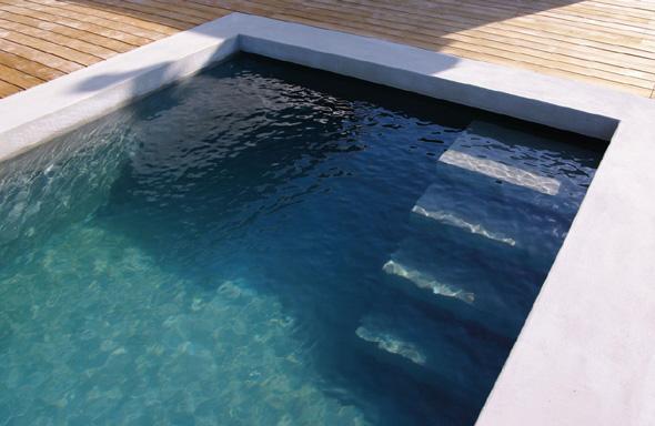 Extension contemporaine à Caliure et Cuire en ossature bois et parement ciment Viroc. Terrasse bois et piscine béton brute et marche encastrée.