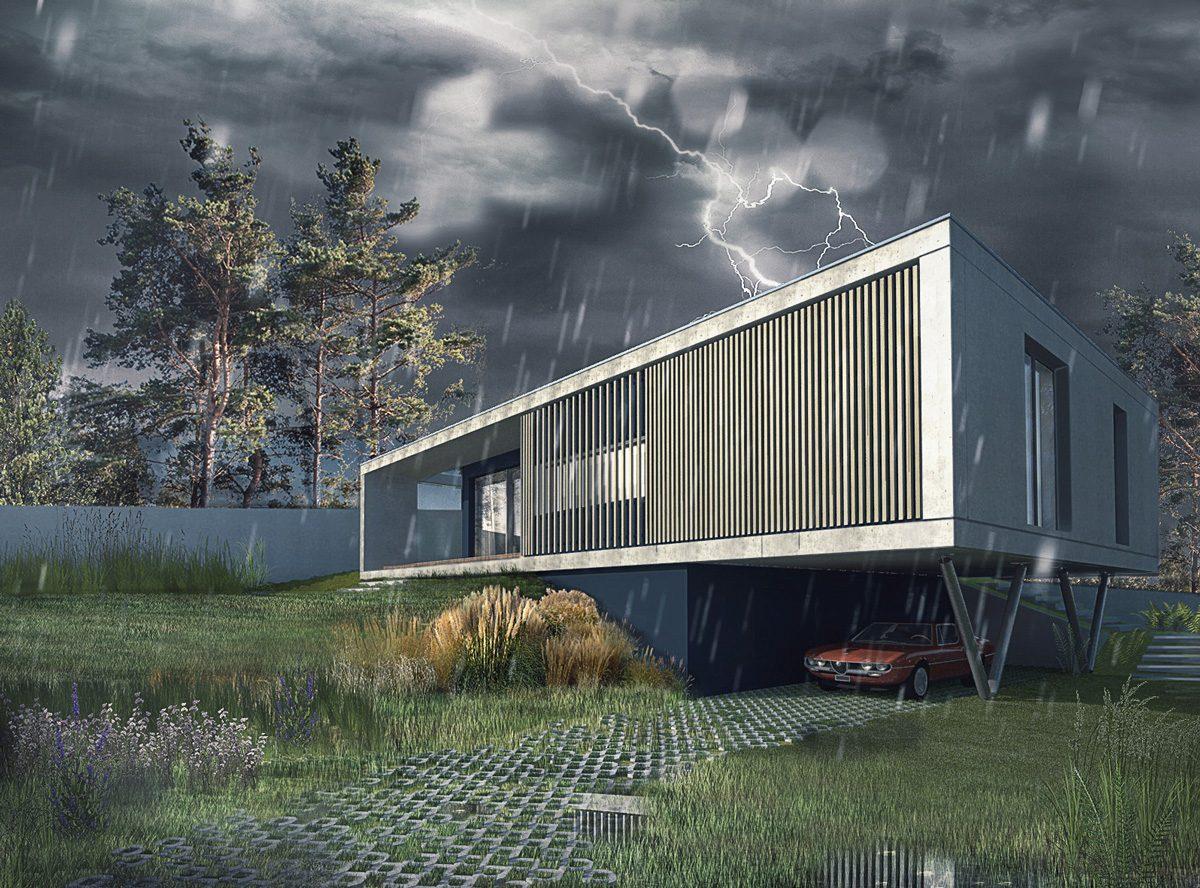Maison contemporaine à Caluire en béton, sur un terrain en pente. Cadre en béton banché en porte à faux avec poteaux métallique.