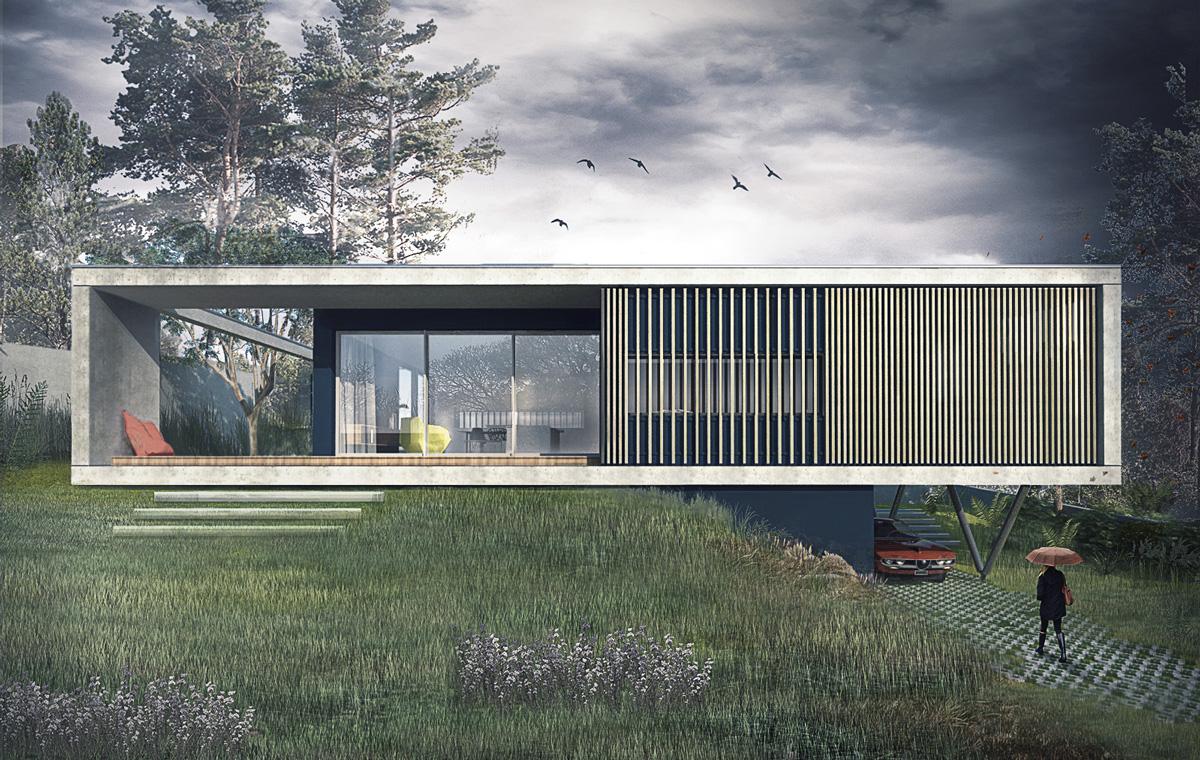 Mte dank architectes for Maison en beton banche
