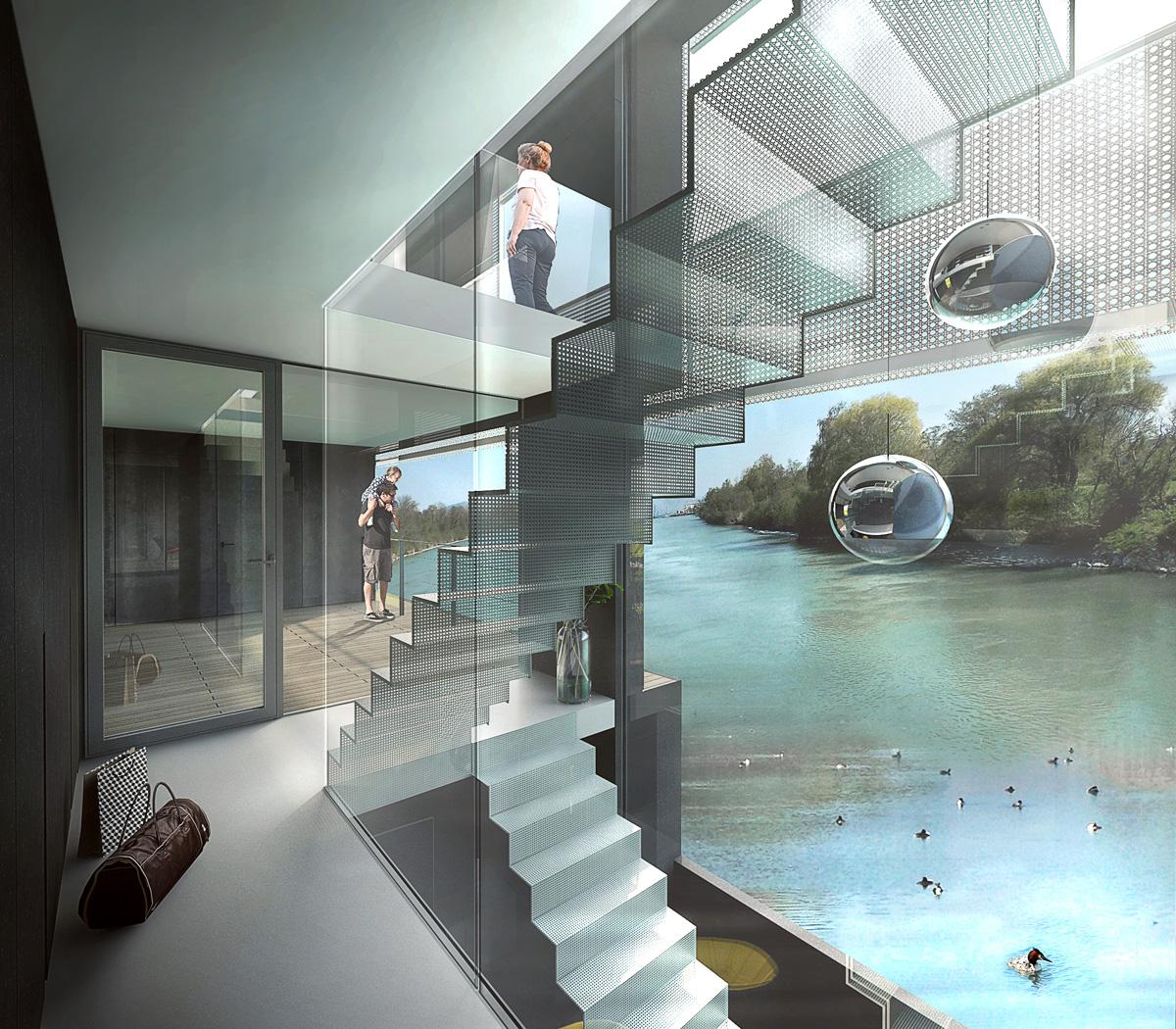 Rénovation d'une péniche bateau en maison flottante contemporaine par Dank, architecte sur Lyon avec une piscine à débordement. Escalier ouvert en métal et verre avec vue sur la rive