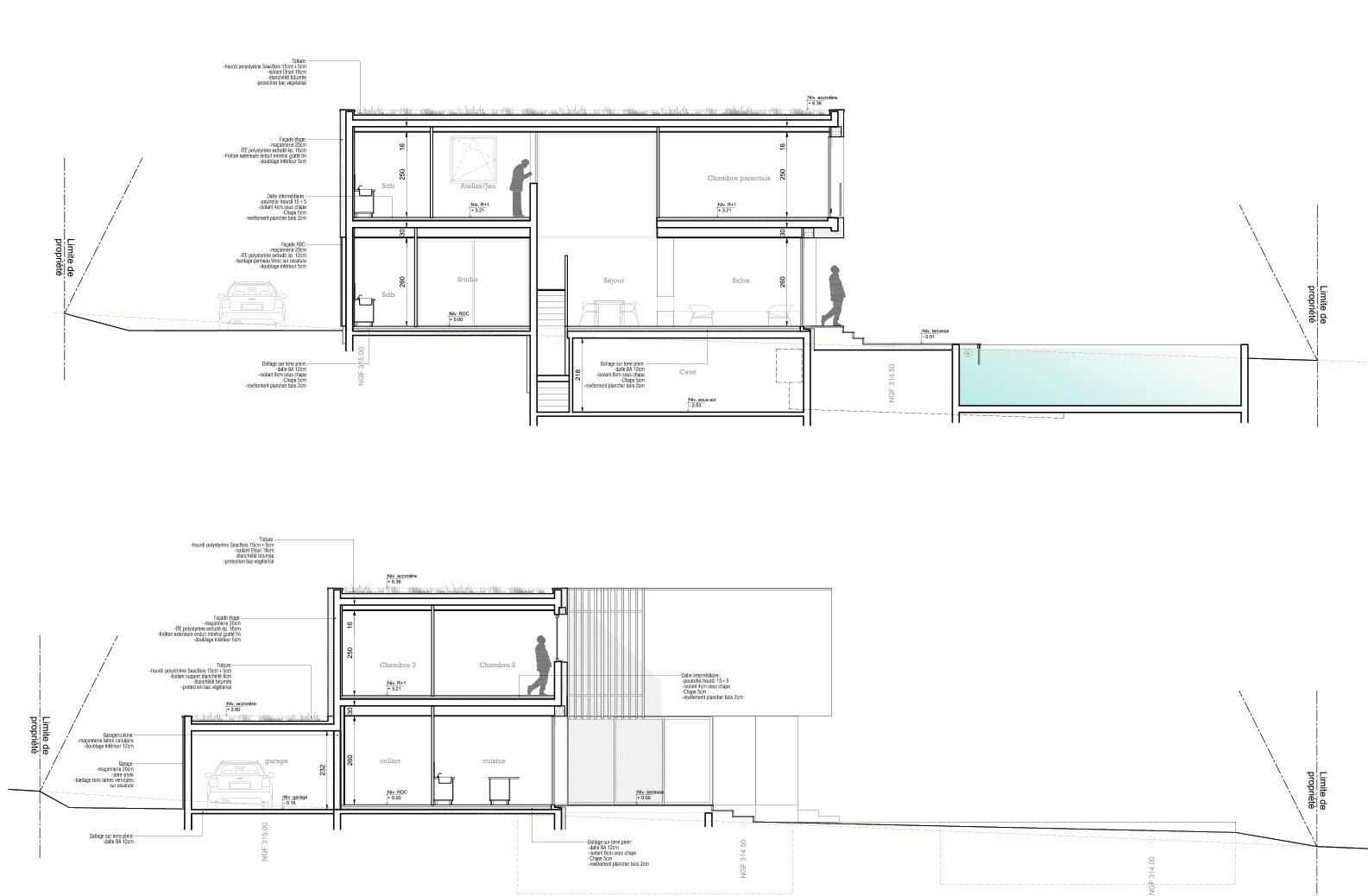 Maison-contemporain-architecte-croquis_Plan-Coupe-technique