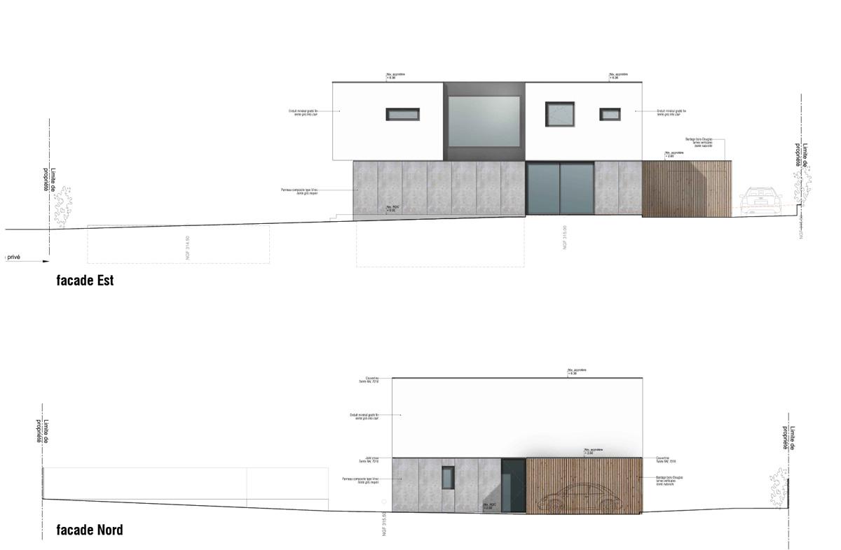 Maison-contemporain-architecte-croquis_Plan-Facade-Est