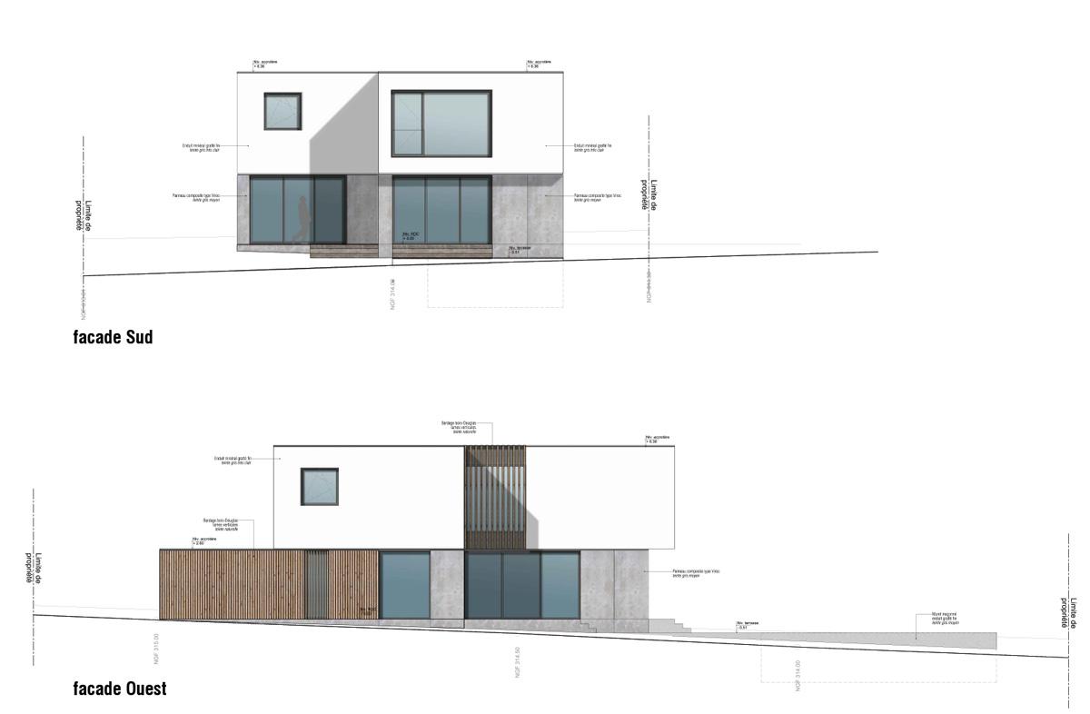 Maison-contemporain-architecte-croquis_Plan-Facade-Sud
