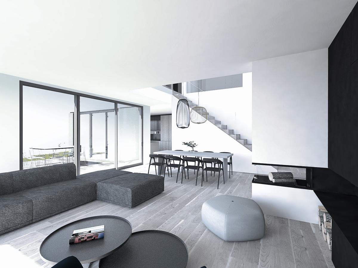 salon-cheminee-baie-vitree-minimaliste