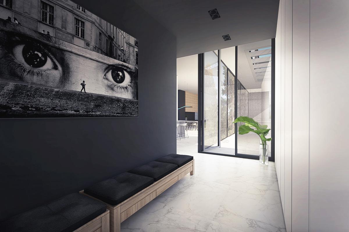 Maison-Abidjan-architecte-contemporain-grand-volume-_entree-penderies-cachees-banquette-marbre-grandes-ouvertures