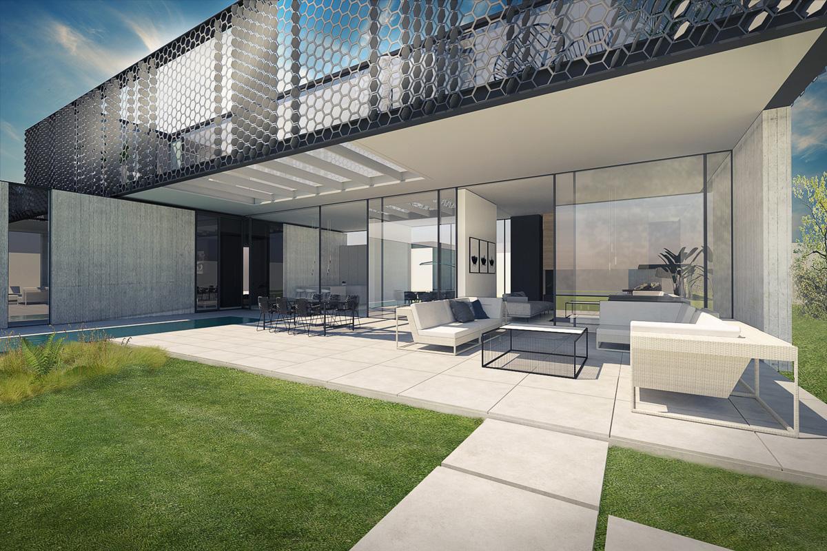 Maison-Abidjan-architecte-contemporain-grand-volume-_porte-a-faux-resille-terrasse-salon-exterieur