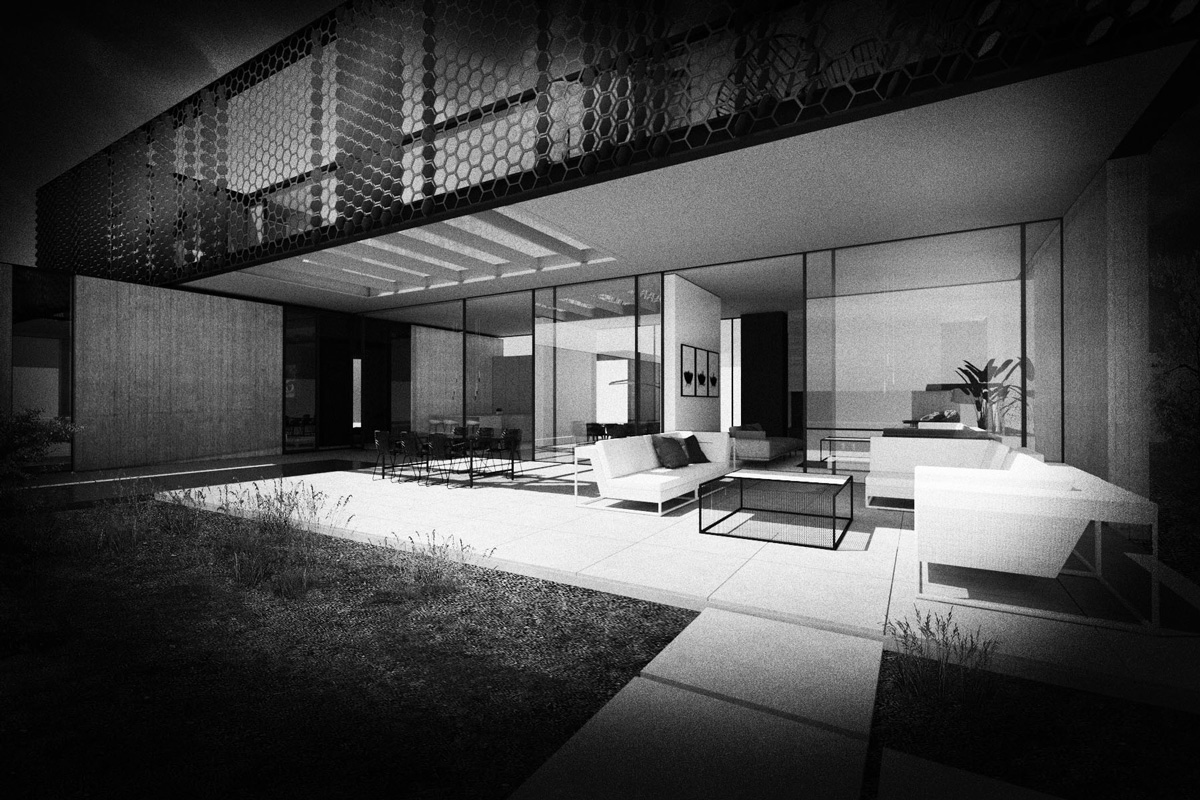 Maison-Abidjan-architecte-contemporain-grand-volume-_porte-a-faux-resille-terrasse-salon-exterieur_N&B