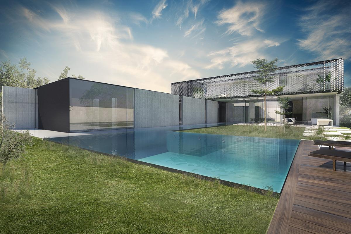 Maison-Abidjan-architecte-contemporain-grand-volume-_psicine-mirroir-matiere-brute-beton-terrasse-bois