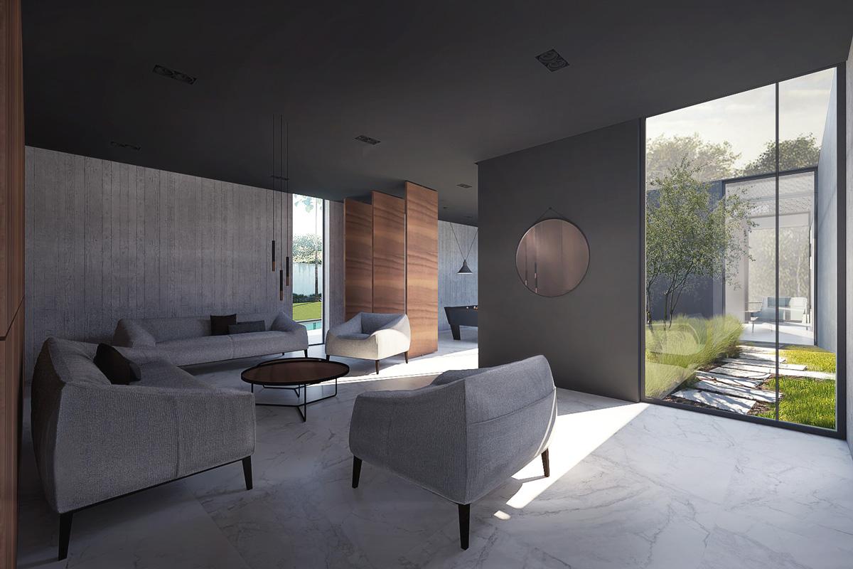 Maison-Abidjan-architecte-contemporain-grand-volume-_salon-patio-bibliothèque-ouvertures-panneaux-rotatif