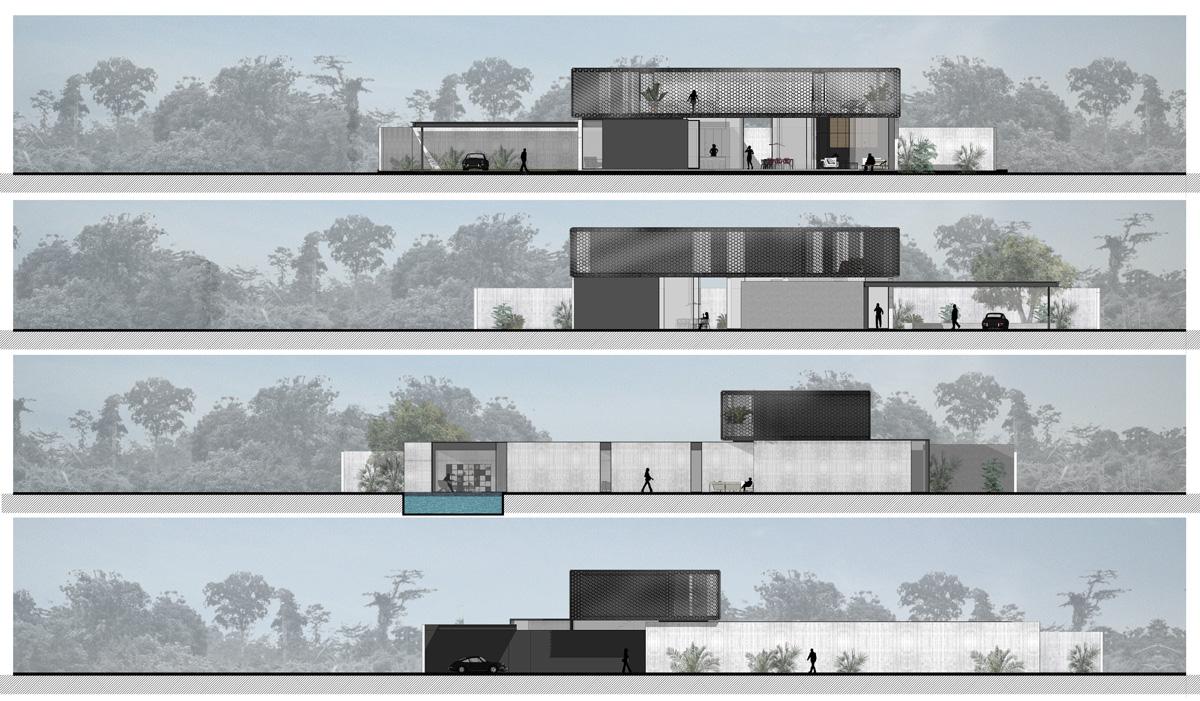Maison-Abidjan-architecte-contemporain-grand-volume_Façades-Resille-porte-a-faux-beton-brute