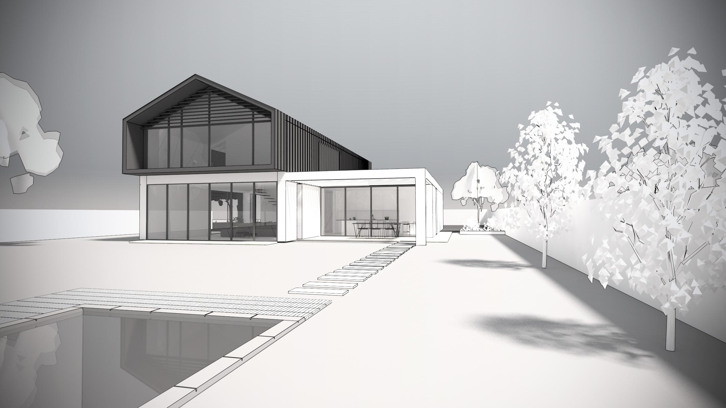 Maison-contemporaine-architecte-Lyon-Exterieur-volumes-simple-bardage-piscine-pergola-baie-vitree-lumiere