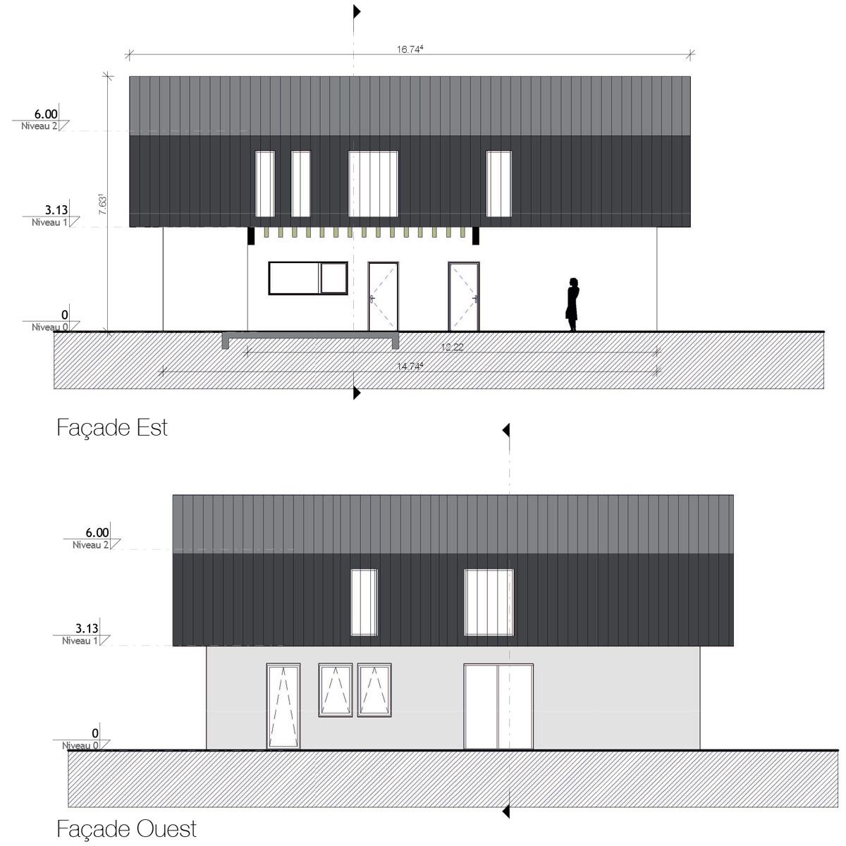 Maison-contemporaine-architecte-Lyon-Facades-baie-vitree-volume-noir-et-blanc