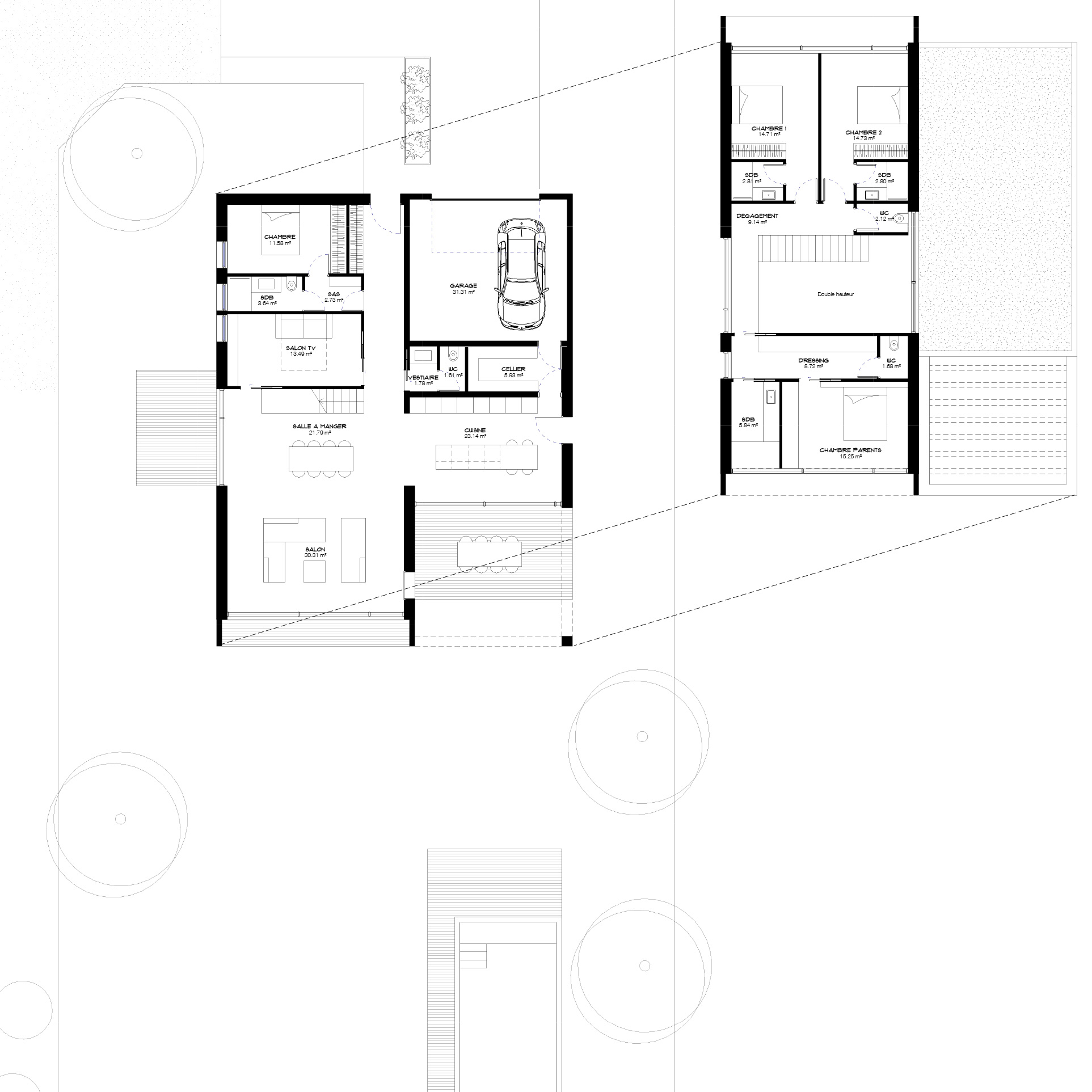 Maison-contemporaine-architecte-Lyon-Plan-architecte-double-hauteur