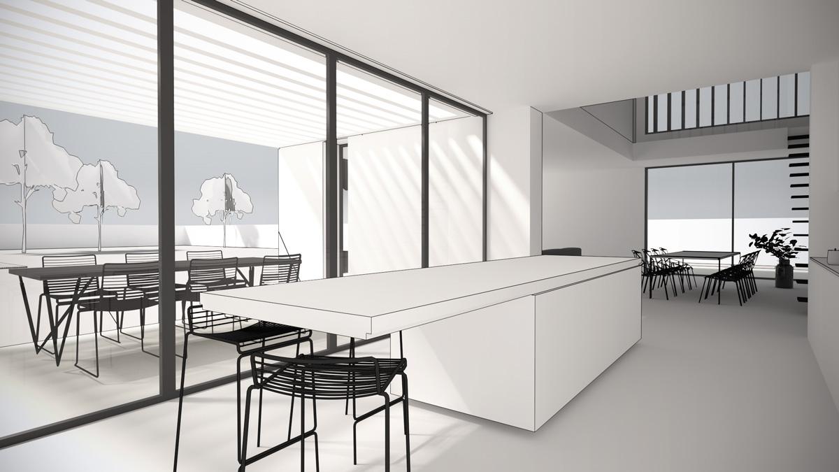 Maison-contemporaine-architecte-Lyon-interieur-cuisine-ouverte-ilot-bar-relation-terrasse-pergola