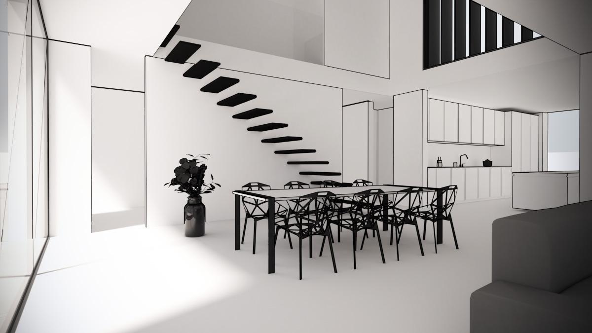Maison-contemporaine-architecte-Lyon-interieur-double-hauteur-minimaliste
