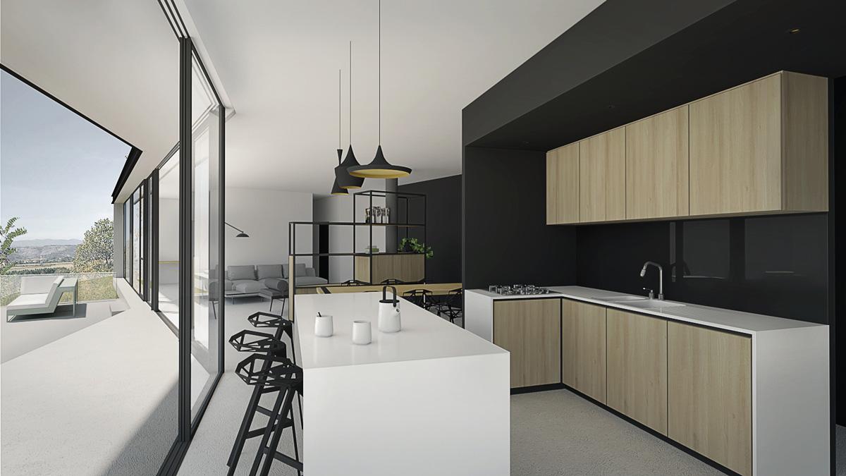 Maison-contemporaine-architecte-Lyon-pente-piscine-débordement-ouverture-Cuisine-resine-interieur-minimaliste