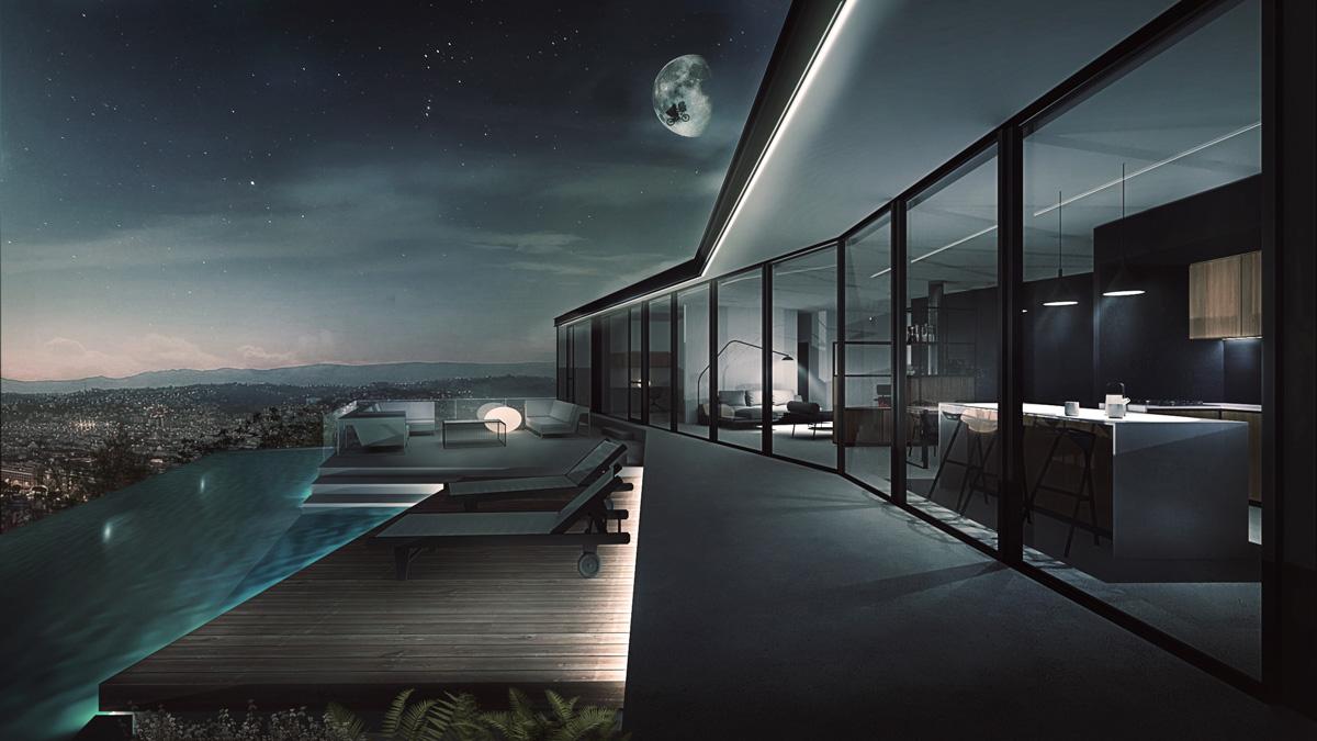 Maison-contemporaine-architecte-Lyon-pente-piscine-débordement-ouverture-minimaliste-salon-design-Nuit-terrasse