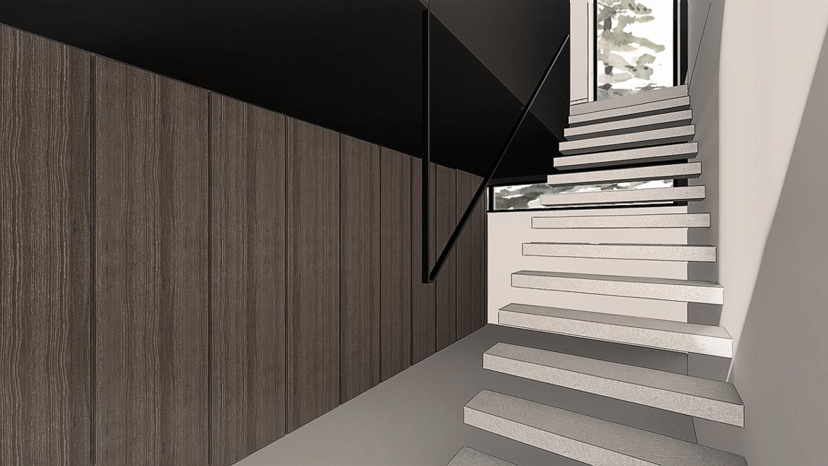 maison-contemporaine-minimaliste-beton-lyon-savoie-entree-rangement-escalier-metal