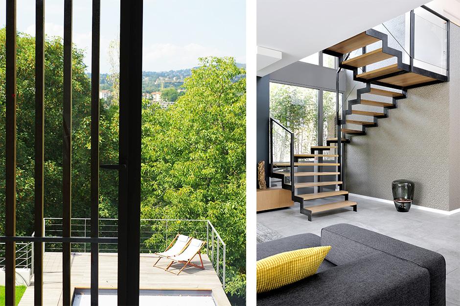 Maison Contemporaine En Ossature Bois Caluire Et Cuire 69 Photo Interieur Escalier Metal Sur Mesure Dank Architectes