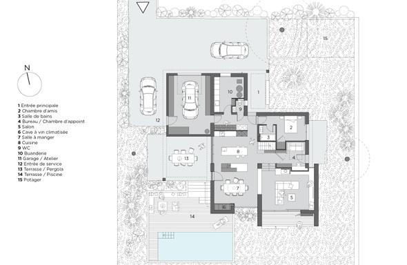 Maison contemporaine dans l'ouest de Lyon. Plan du rez de chaussée.
