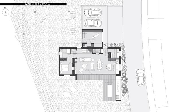 Maison contemporaine en Savoie avec un bardage bois et du béton brute. Plan du niveau de vie rez de chaussé.