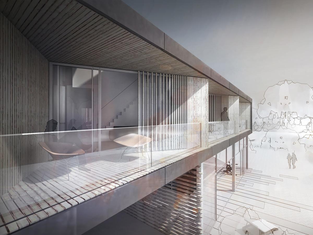Hébergement de loisir, appartement de vacances avec balcons et centre spa, appartement avec balcon en bardage bois et garde corps en verre