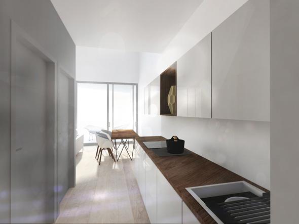 Hébergement de loisir, appartement de vacances avec balcons et centre spa, appartement avec cuisine en enfilade et baie vitrée